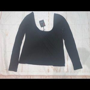 N:Philanthropy black Long Sleeve Scoop Neck Top